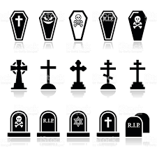 icon halloween halloween graveyard icons set coffin cross grave stock vector art