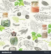 Kitchen Background Seamless Kitchen Background Handdrawn Watercolor Spices Stock