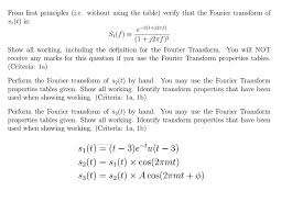 Fourier Transform Table From First Principles I E Without Using The Tabl Chegg Com