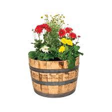 real wood natural wood whiskey barrel planter ace hardware