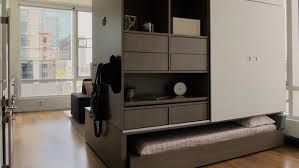 Small Living Room Desk Robotic Folding Furniture Makes The Most Of Small Living Space