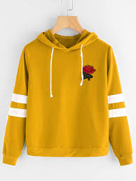 rose patch stripe sleeve drawstring hoodie patches rose and hoodie