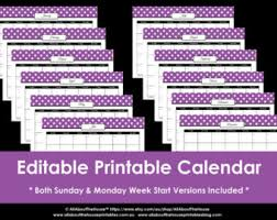 printable calendar queensland 2016 editable 12 polka dot calendars you choose 2015 2016 and