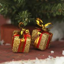 miniature gold glitter gift box ornaments miniatures