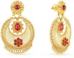 malabar earrings malabar gold and diamonds yellow gold 22kt jhumki earring price in