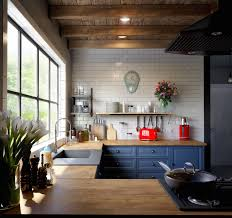 blue kitchen cabinets with wood countertops 30 beautiful blue kitchens to brighten your day