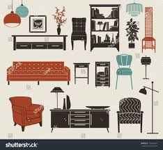 furniture home accessories set design elements stock vector furniture and home accessories set of design elements including chest of drawers bookshelf
