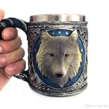 new 2017 double wall stainless steel 3d wolf head mugs coffee beer