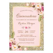 quince invitations quinceanera pink 15th birthday party card zazzle