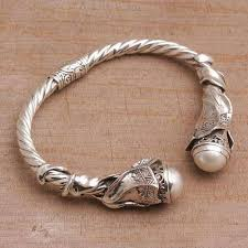 silver bracelet with pearls images Cultured pearl and sterling silver cuff bracelet from bali jpg