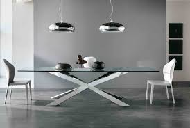 Rouded Clear Glass Top Dining Table With Chrome Metal Based Legs - Dining room table base