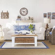 living room beachy living room design with cozy white sofa and