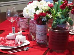 romantic atmosphere valentines dining room red candle glass full