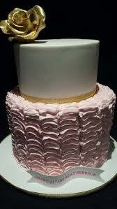21st birthday cake pink ruffles gold trimmings cake central