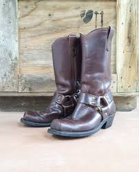 womens brown leather motorcycle boots vintage brown leather harness boots men u0027s size 7 5 d womens size 8