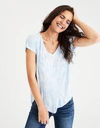 aeo soft u0026 v neck favorite t shirt blue american eagle