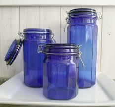 Pottery Kitchen Canisters Blue Canister Set Vintage Cobalt Blue Canister Jar Wish Lids Set