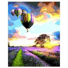 lavender field air balloon digital painting home decor