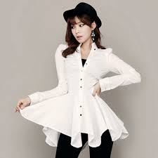 blouse dress asymmetrical sleeve white shirt dress for autumn