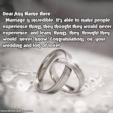 wedding wishes name wishes about marriage rings with name