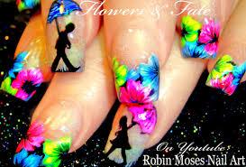 neon spring flower nails umbrella nail art design tutorial