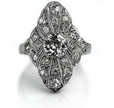 art deco platinum diamond dinner ring