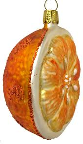 orange half slice fruit german blown glass christmas tree ornament