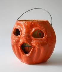 halloween decoration vintage paper mache pumpkin jack o lantern