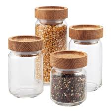 kitchen canisters glass set of artisan glass canisters with oak lids the container store