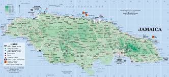 jamaica physical map jamaica w i