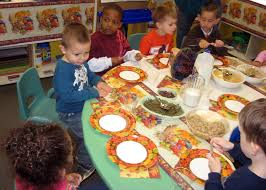 children parents gather for thanksgiving feast joint base