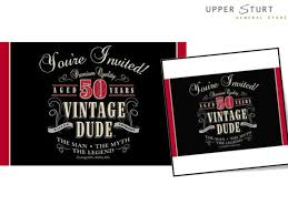 vintage dude 50th birthday invitations 8 pack upper sturt