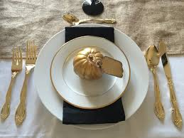 mint and perilla black and gold halloween tablescape