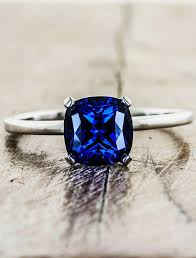 sapphire rings images Heather modern cushion cut blue sapphire engagement ring ken dana jpg