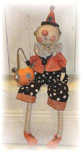 vintage halloween crafts halloween clown doll folk art from the pixie u0027s thimble by cindy