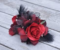 Red Rose Wrist Corsage Wrist Corsage Silk Red Rose Black Pearl Bracelet Wedding