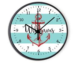 personalized clocks with pictures custom nautical anchor personalized decorative kitchen wall clock