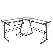Black Glass L Shaped Computer Desk L Shaped Computer Desk In Black And Clear Glass