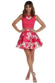 ashley fuchsia two piece dress