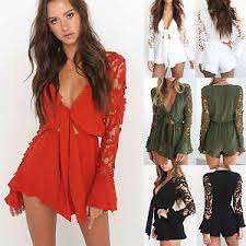 jumpsuit shorts uk womens lace sleeve playsuit summer shorts