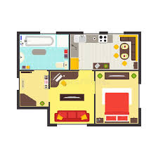 apartment floor plan with furniture top view vector stock vector