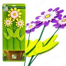 3x wooden flower pot sticks plant support garden ornament