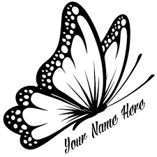 flying butterfly design with your custom name