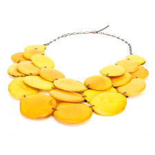 yellow necklace images Statement tagua necklace yellow beads ecofriendly handmade jpg