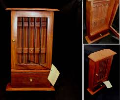 vintage wood box unique jail cell box wooden key holder box