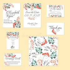 template cards set with watercolor rowan tree and other autumn