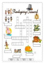 esl worksheets for beginners thanksgiving crossword