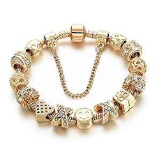gold chain charm bracelet images Gold tone bracelet snake chain heart smiley beaded jpg