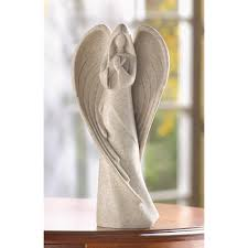 Angel Sculptures Wholesale Stylized Praying Angel Sculpture Off White Stone Finish