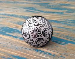 Porcelain Knobs For Kitchen Cabinets Gray Knobs Etsy